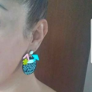 "New Summer Tropical Drinks Earrings 2"" H x 1.5"" W"